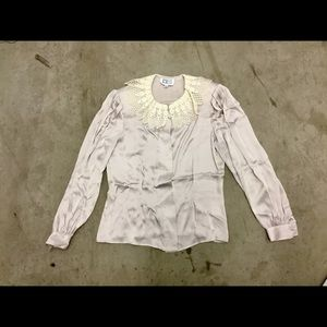 Vintage Anne Klein silk shirt with lace collar